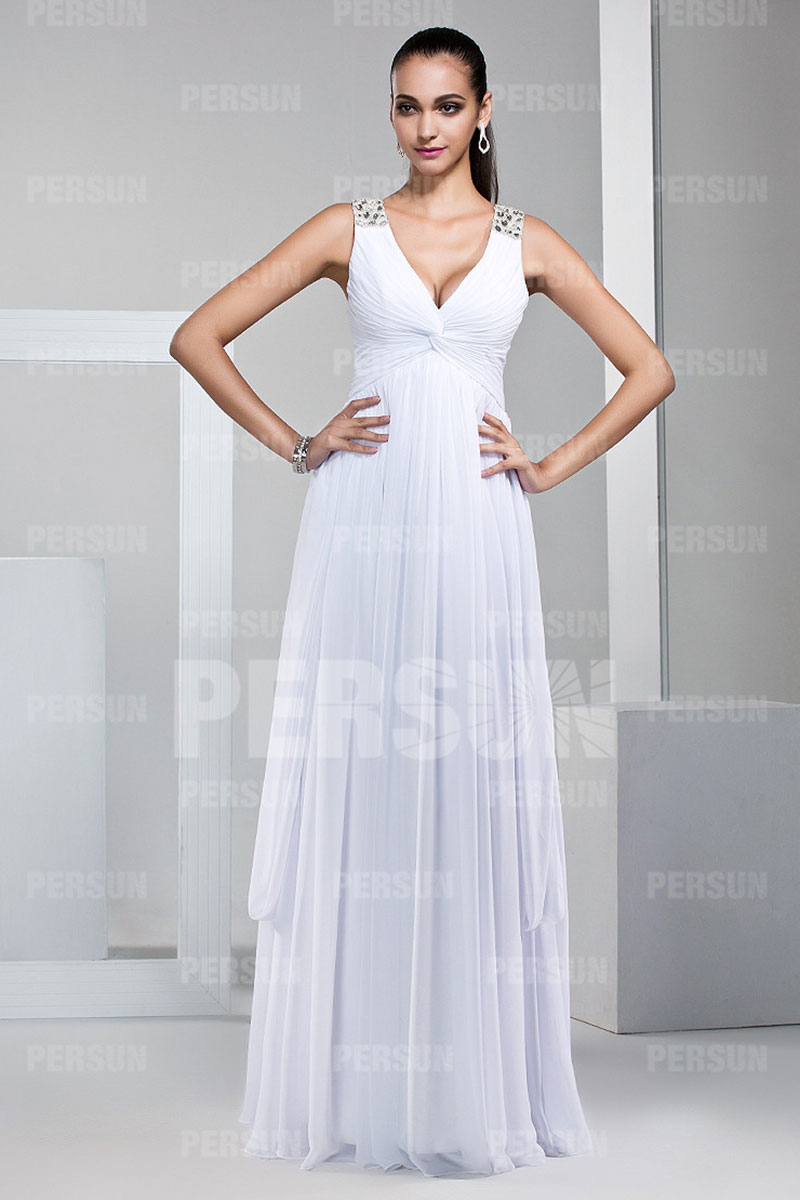 elegant v neck white chiffon long bridesmaid dress. Black Bedroom Furniture Sets. Home Design Ideas