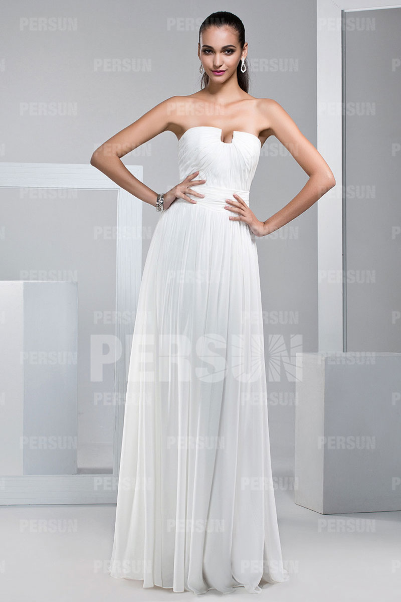 Sexy strapless chiffon long white bridesmaid dress for White strapless wedding dresses