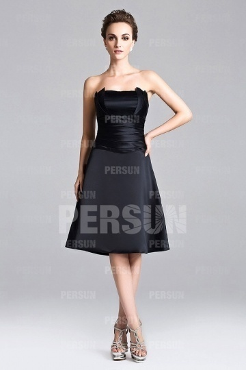 Elegant Black Strapless Short Satin Bridesmaid Dress