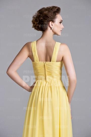 g nstig sch nes a linie gelbes langes rmelloses abendkleid aus chiffon online verkauf persun. Black Bedroom Furniture Sets. Home Design Ideas