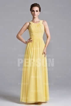 Beautiful Yellow Ruffles Floor Length Chiffon Formal Bridesmaid Dress