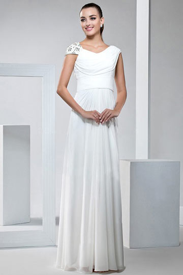 Dressesmall Elegant Cap Sleeves White Chiffon Floor Length Wedding Dress