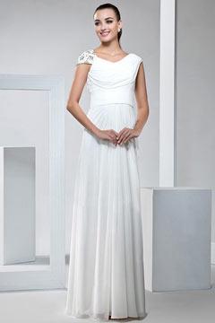 Elegant Cap Sleeves White Chiffon Floor Length Wedding Dress