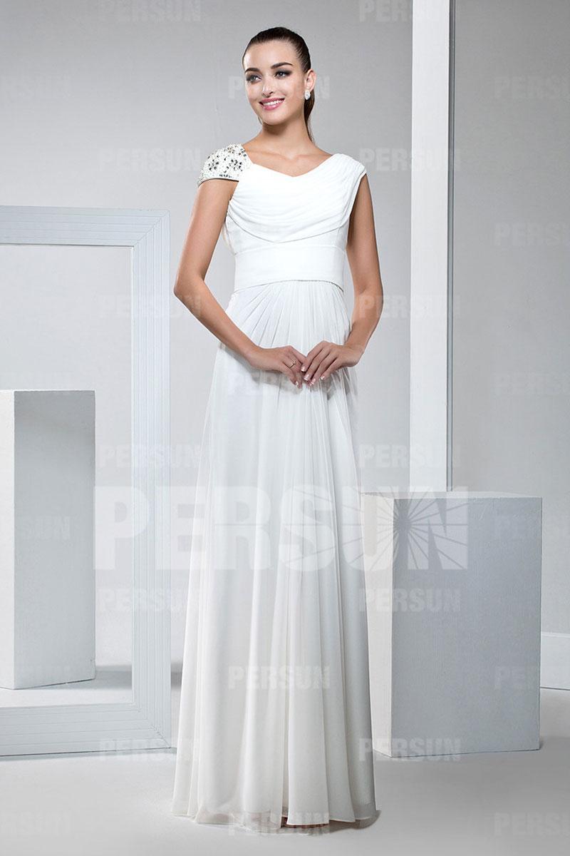 Elegant cap sleeves white chiffon floor length wedding for White chiffon wedding dress