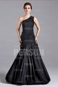 Chic Black One Shoulder Ruffles Mermaid Floor Length Formal Dress