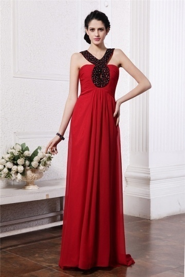 Dressesmall Modern Halter Red Ruching Beading Chiffon Floor Length Formal Bridesmaid Dress