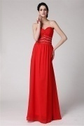 Sexy Strapless Full Length Red Ruffles Zipper Floor Length Formal Dress