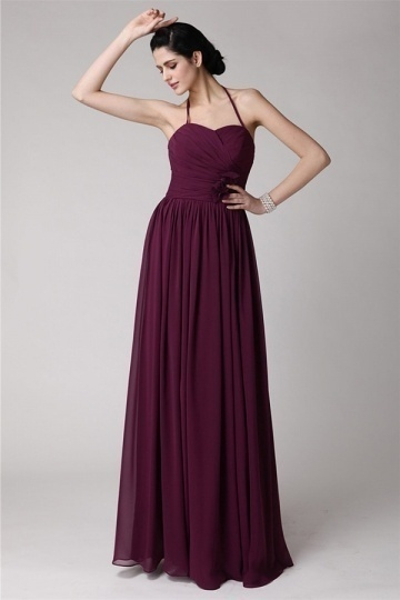 Dressesmall Chic Spaghetti Straps Purple Tone Full Length Formal Bridesmaid Dress