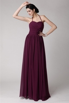 Sexy Halter Backless Chiffon Full Length Purple Tone Bridesmaid Dress