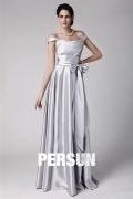 Elegant Sleeveless Sliver Floor Length Bridesmaid Dress