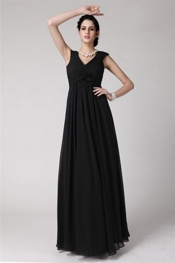 Elegant V Neck Ruffles Chiffon Long Bridesmaid Dress