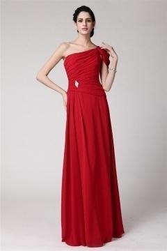 Robe soirée rouge plissée style asymétrique longue sol