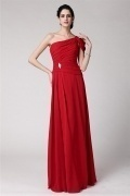 Elegant One Shoulder Ruced Floor Length Chiffon Red evening Dress