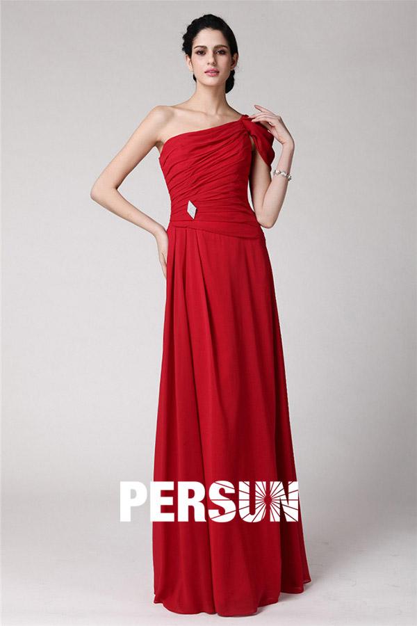 elegantes ein schulter rotes ruching langes abendkleider. Black Bedroom Furniture Sets. Home Design Ideas