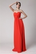 Sexy A line Ruching Orange Tone Chiffon Floor Length Formal Bridesmaid Dress