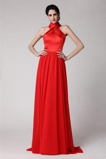 Elegant Halter Backless Red Chiffon Long Bridesmaid Dress
