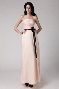 Beautiful Strapless Flower Bow Full Length Formal Bridesmaid Dress