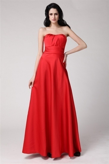 Simple Sexy Strapless Floor Length Red Ruffles Long Bridesmaid Dress