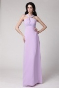 Unique Purple Halter Chiffon Floor Length Bridesmaid Dress