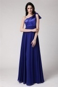 Royal Blue One Shoulder Zipper Long Bridesmaid Dress
