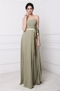 Chic Ruching Green Chiffon Strapless Floor Length Formal Bridesmaid Dress