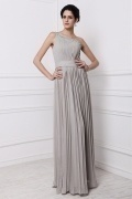 Simple Grey One Shoulder Ruffles Chiffon Long Bridesmaid Dress
