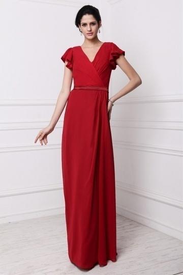 Dressesmall Modern V Neck Short Sleeves Chiffon Red Floor Length Formal Bridesmaid Dress