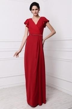 Robe soirée rouge longue décolletée V avec manches courtes