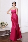 Sexy Backless Mermaid Satin Ruffles Red Floor Length Formal Dress