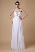 Gorgeous Strapless Lace Up White Chiffon Floor Length Formal Dress