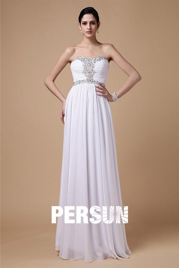 Strapless Empire White Evening gown in full-length