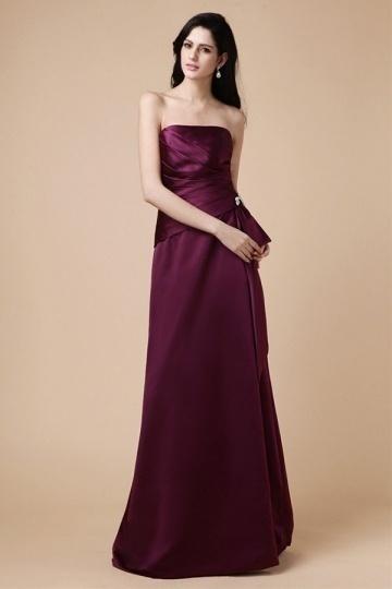Dressesmall Elegant Strapless Ruffles Zipper Satin Floor Length Formal Bridesmaid Dress
