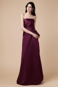 Elegant Strapless Ruffles Zipper Satin Floor Length Formal Bridesmaid Dress