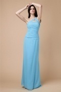 Chic One Shoulder Zipper Blue Ruffles Long Bridesmaid Dress