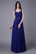 Royal Blue Strap Beading Ruffles Chiffon Floor Length Formal Dress