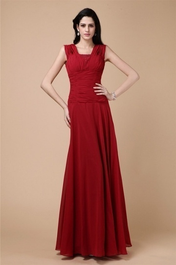 Dressesmall Modern Red Strap Zipper Ruffles Chiffon Floor Length Formal Bridesmaid Dress