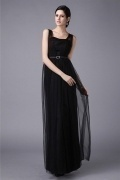 Elegant Strap Black Tulle Floor Length Bridesmaid Dress