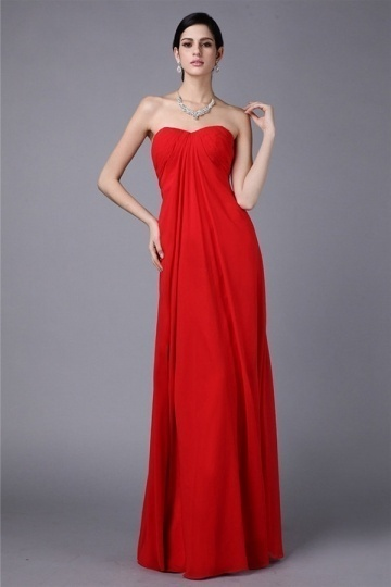 Dressesmall Sexy Simple Strapless Red Chiffon Floor Length Formal Bridesmaid Dress