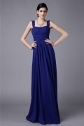 Modern Blue Strap Ruffles Zipper Floor Length Bridesmaid Dress
