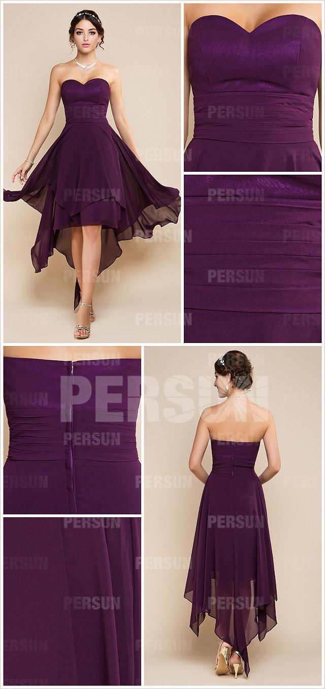 robe violette courte devant longue derrière dos nu