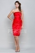 Elegant Strapless Satin Ruffles Knee Length Bridesmaid Dress