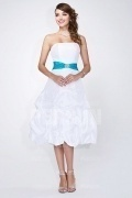 White Strapless Tea length Formal Bridesmaid Dress with picked up skirt