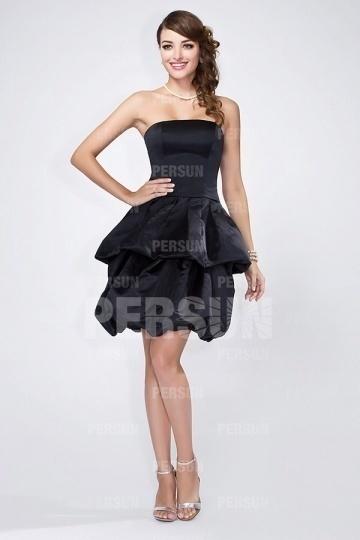 Trägerloses A-Linie Knielanges Abendkleider aus Satin Persun