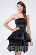 Simple Ruffles Zipper Strapless Satin Black Short Bridesmaid Dress