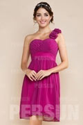 Chic Pink One Shoulder Ruffles Chiffon Short Formal Bridesmaid Dress