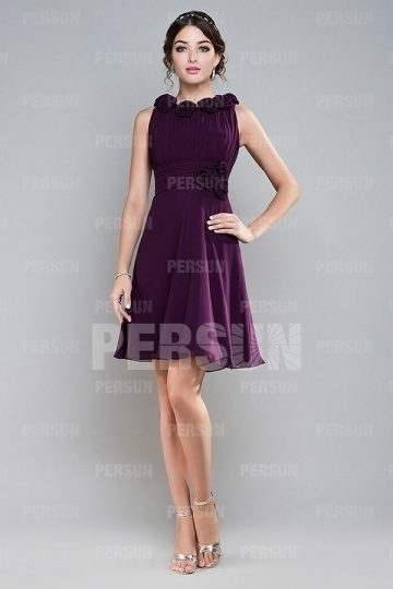 Dressesmall Oval Sleeveless Purple Chiffon Short Formal Bridesmaid Dress