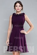 Oval Sleeveless Purple Chiffon Short Formal Bridesmaid Dress