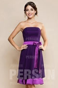 Sexy Backless Purple Chiffon Short Formal Bridesmaid Dress