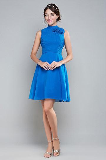 Dressesmall Unique High Neck Blue Chiffon Short Formal Bridesmaid Dress