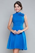Unique High Neck Blue Chiffon Short Formal Bridesmaid Dress
